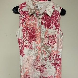 Dana Buchman Sleeveless Button Down Shirt Size M
